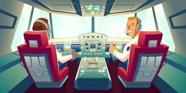 Капитан и второй пилот, сидящий в кабине самолета с мультипликационной иллюстрацией приборной панели кабины экипажа Бесплатные векторы