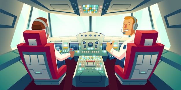 Captain and co-pilot sitting in airplane cabin with flight deck dashboard cartoon illustration Free Vector