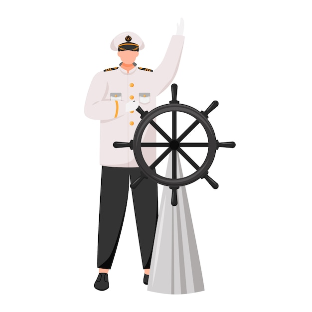 Captain flat illustration. navigator with helm. cruise liner. seafarer. skipper in work uniform isolated cartoon character on white background Premium Vector