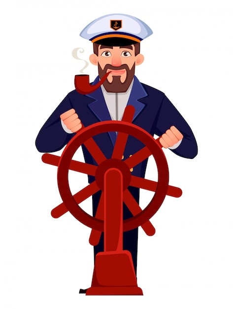 Captain of the ship in professional uniform Premium Vector