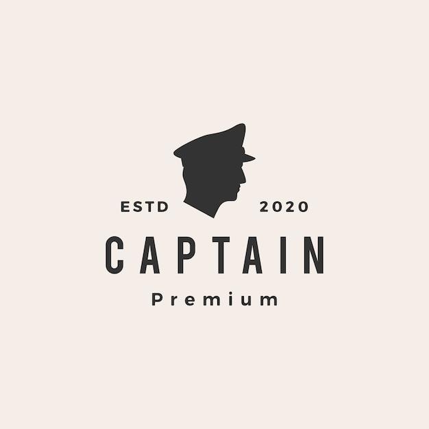 Капитан старинный логотип значок иллюстрации Premium векторы