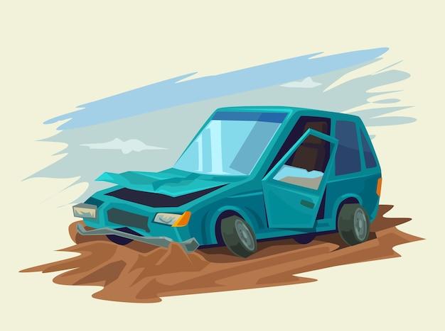Иллюстрация автомобильной аварии Premium векторы