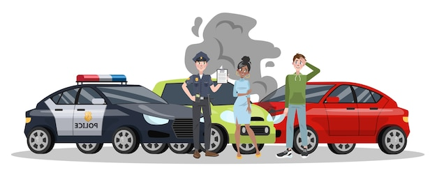 Car accident on the road. automobile damage or auto crash. safety on the street.    illustration Premium Vector