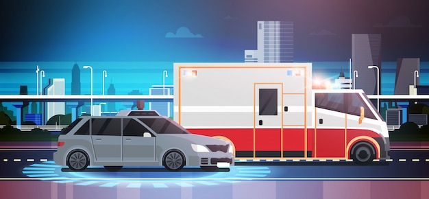 Car accident scene of road crush with ambulance Premium Vector