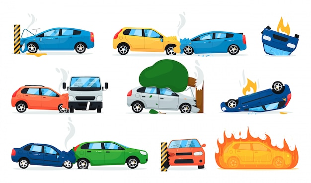 Premium Vector Car Accident Set Isolated Cartoon Car Crash Collection Transport Road Accident Cars Collision Vehicle On Fire Vector Transportation Safety Illustration
