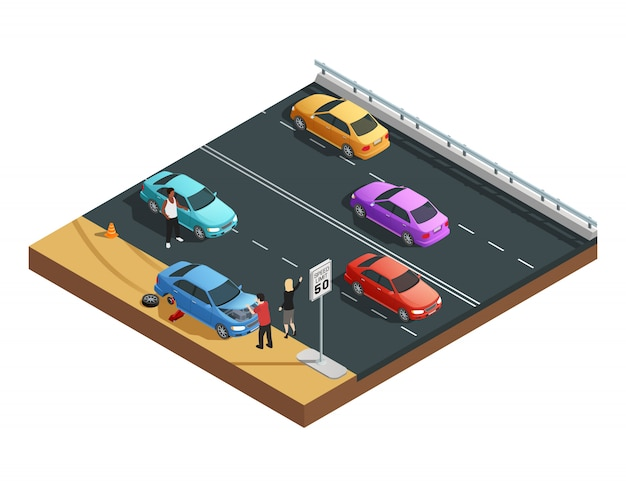 Car accidents isometric composition with two people having flat tyre and asking for help vector illu Free Vector