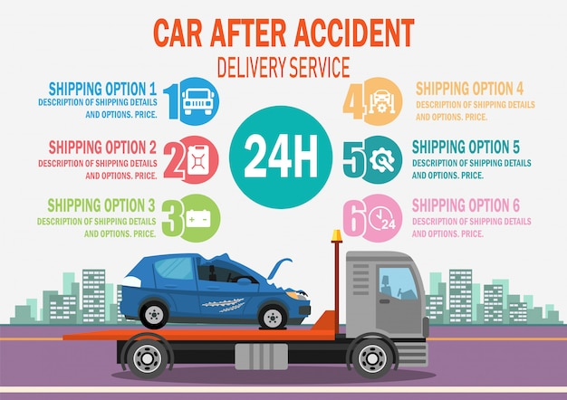 Car after accident delivery service. vector. Premium Vector
