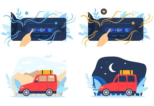 Набор иллюстраций автомобильного кондиционера. Premium векторы