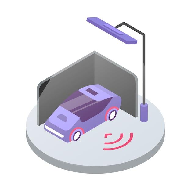 カーアラームシステムの等角カラーイラスト。輸送安全監視。公共駐車場の自動車。白い背景で隔離の車両セキュリティシステム3dコンセプト Premiumベクター
