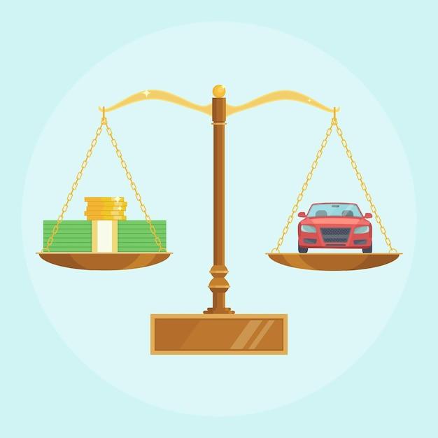 Автомобиль и деньги на весах. покупка авто, покупка транспорта. стеки долларов и золотые монеты Premium векторы
