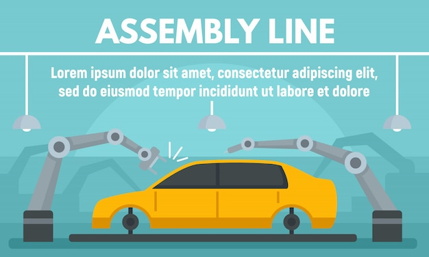Car assembly banner in flat style Premium Vector