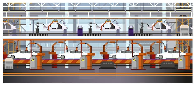 Car assembly line illustration Free Vector