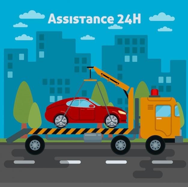 Car assistance. roadside assistance car. tow truck. vector illustration Premium Vector