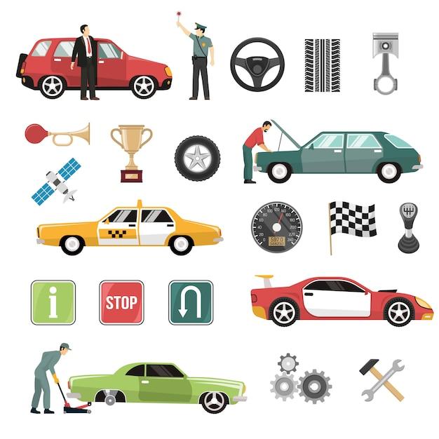 Car auto flat icons set Free Vector