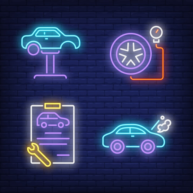 Car on auto lift, clipboard and tire neon signs set Free Vector