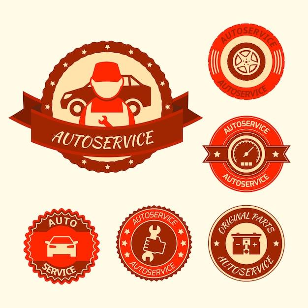 Car auto service labels badges emblems set isolated vector illustration Premium Vector