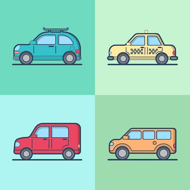 車の自動車タクシータクシージープsuv車セダンハッチバッククール輸送セット。 無料ベクター