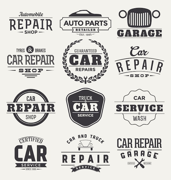 Car badges collection Free Vector