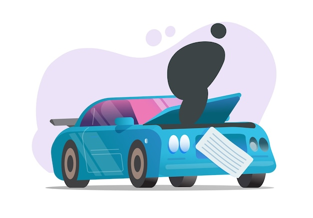 Поломка автомобиля или авария разбитого автомобиля Premium векторы