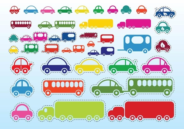 Car Bus Truck Free Vector