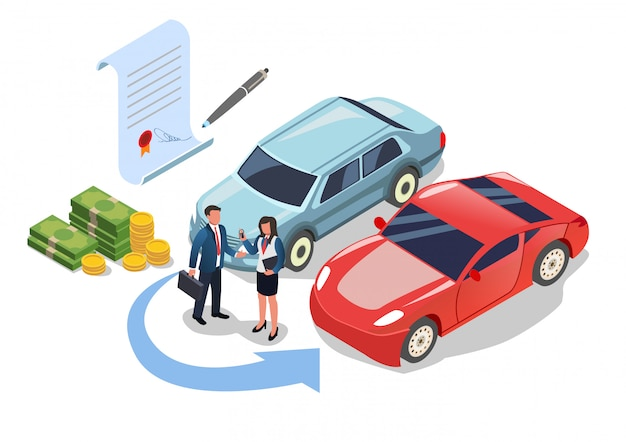 Car change or buying, paying money for purchase Premium Vector