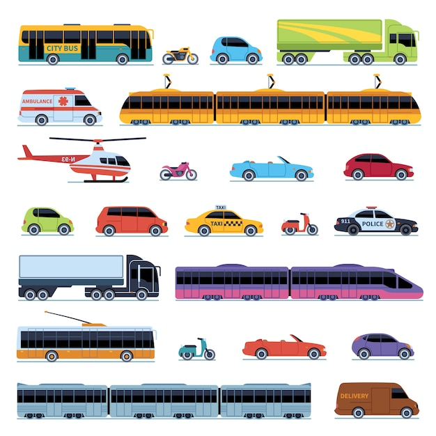 Car collection. vehicles city transportation. cars helicopter tram bus taxi police convertible scooter motorcycle smart Premium Vector