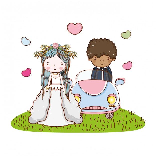 Car couple marriage cute cartoon Premium Vector