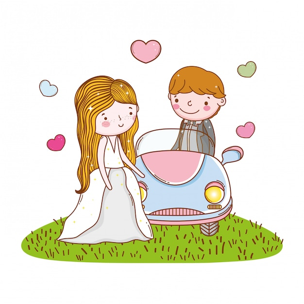 Car couple marriage cute cartoon Premium Vector