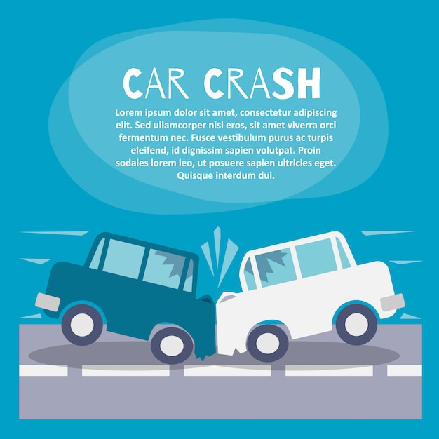 Car crash illustration template Free Vector