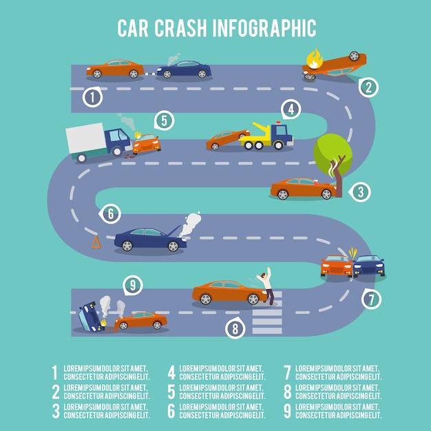 Car crash infographic set with damaged auto burning vehicle vector illustration Free Vector