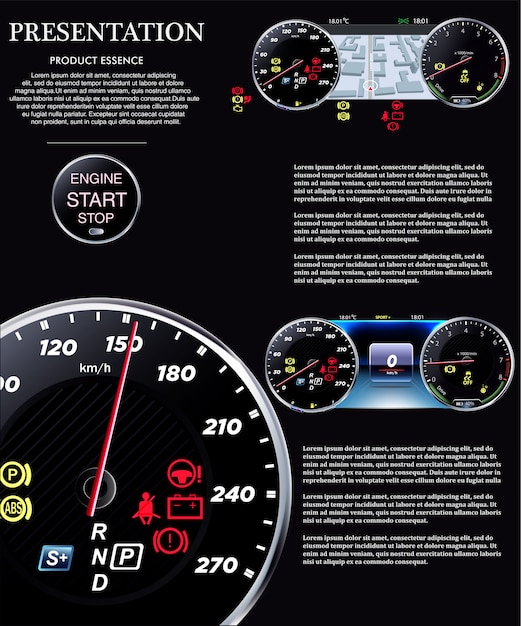 Car dashboard. speedometer eps Premium Vector