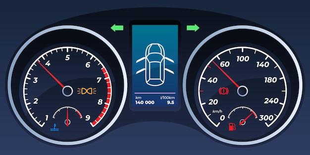 車のダッシュボード。スピードメーター、タコメーター。 Premiumベクター