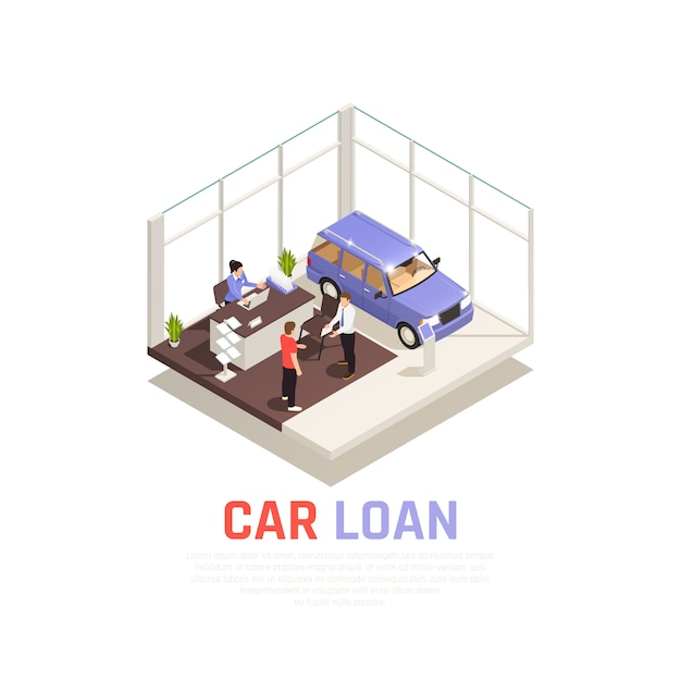 Car dealership concept with car loan symbols isometric Free Vector