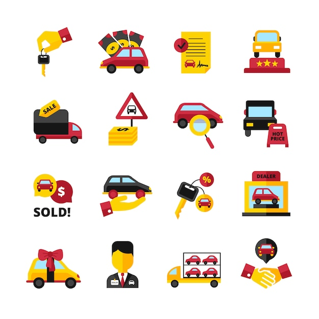 Key Car Dealership >> Car Dealership Flat Decorative Icons Set With Vehicles Keys