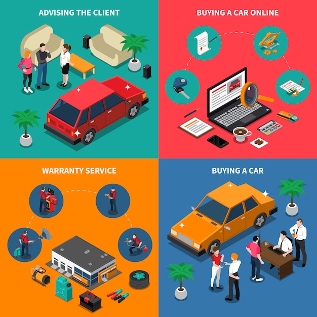 Car dealership isometric concept Free Vector