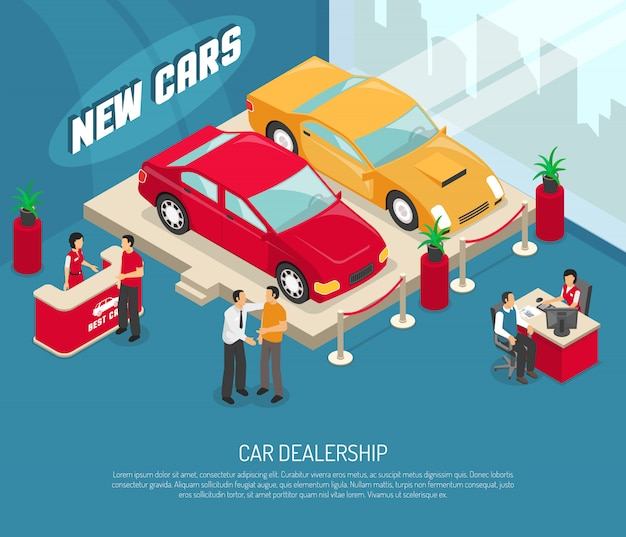 Car dealership leasing composition Free Vector