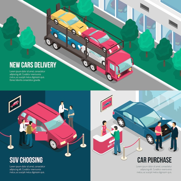 Car dealership leasing design concept set Free Vector