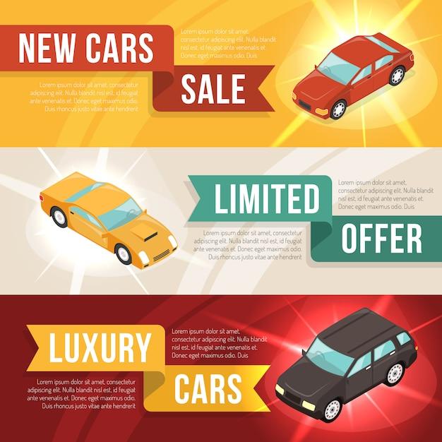 Car dealership leasing horizontal banner set Free Vector