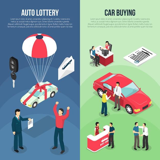 Car dealership leasing vertical banner set Free Vector