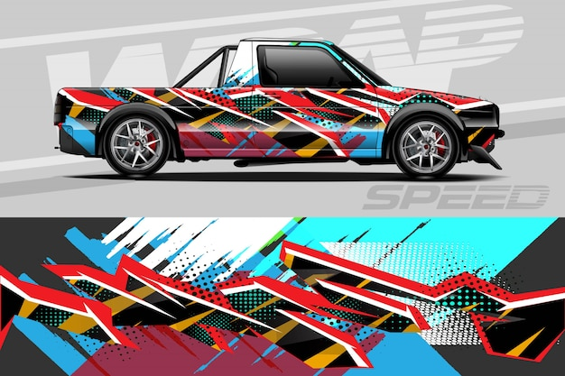Car decal wrap illustration Premium Vector