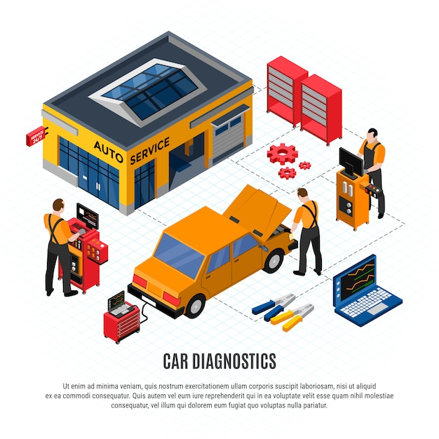 Car diagnostics isometric concept with repair and spare parts and tools vector illustration Free Vector