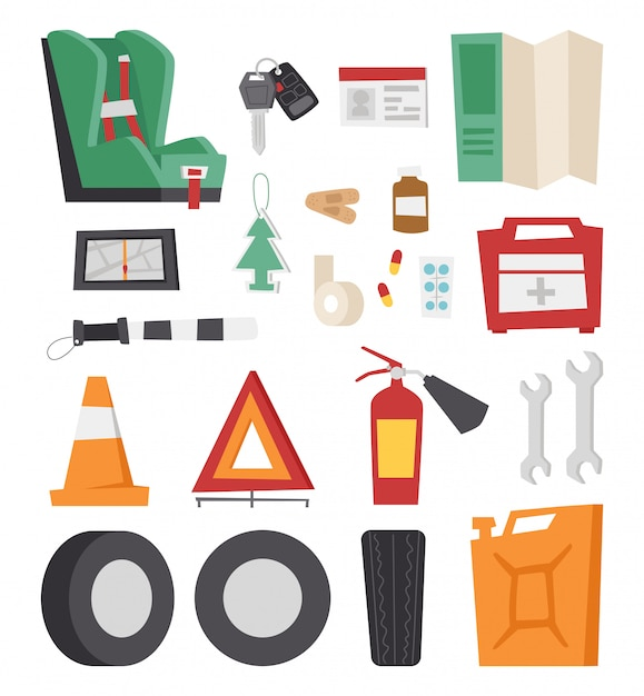 Car drive service elements concept with flat icons and mechanic equipment. Premium Vector