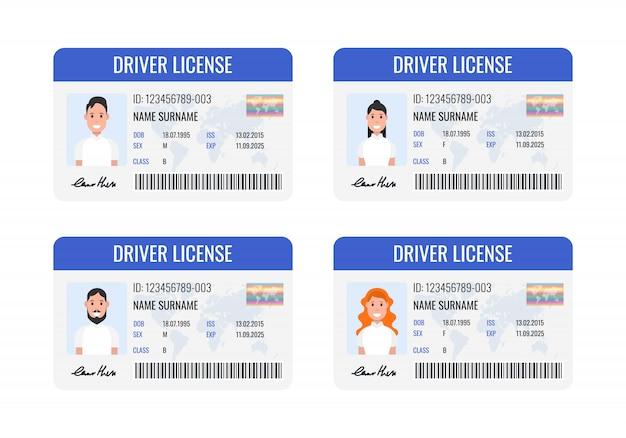 車の運転免許証セット Premiumベクター