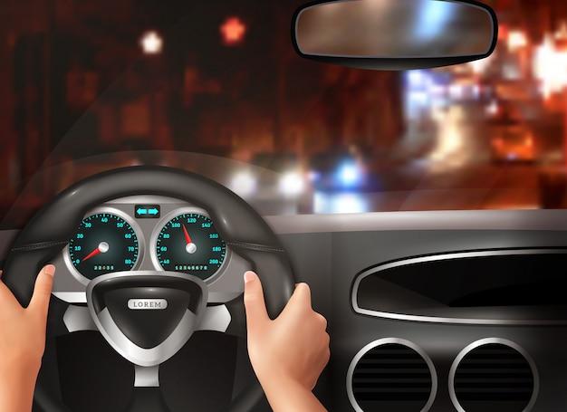Car driving realistic design concept Free Vector