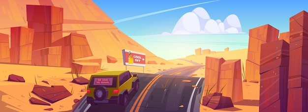 砂漠の車の運転道路 無料ベクター