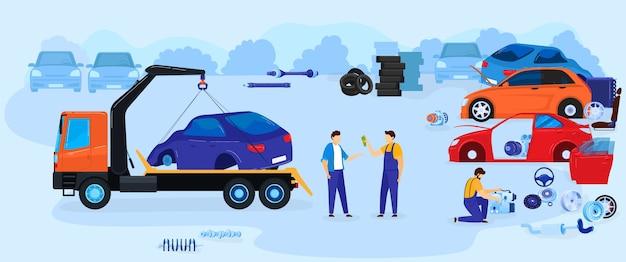 Car dump junkyard vector illustration vector illustration, cartoon flat junk yard landscape with ol