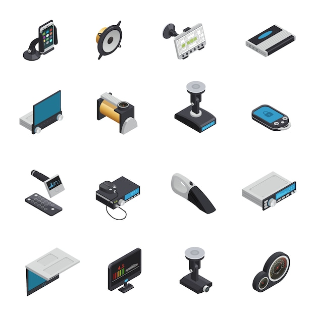 Car electronics isometric icons with electric pump gps navigator alarm system smart gadgets radio and dvd Free Vector