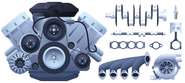 車のエンジン。ピストン、発電機、ターボチャージャー。白い背景で隔離。 Premiumベクター