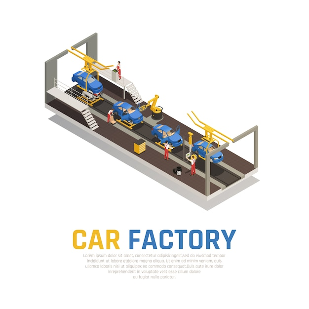 Car factory isometric composition Free Vector