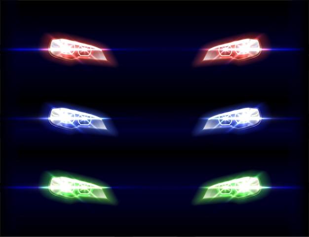Luci anteriori dell'auto in diverse tonalità di colore sul nero Vettore gratuito